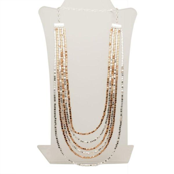N58011.20 Collier à deux tons plaqué Argent & Or Rose mat et perles ronde