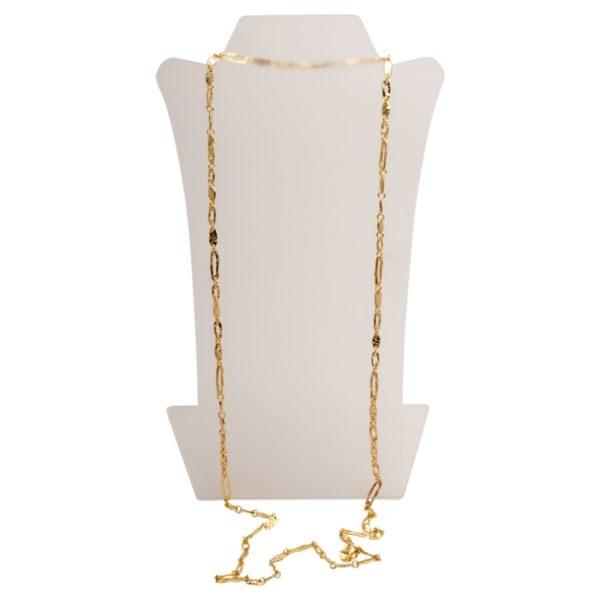 N06848.10 Collier doré à l'or fin 24 carats avec une fine chaîne de branche