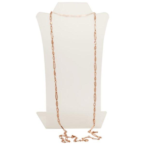 N06848.50 Collier doré à l'or rose fin 24 carats avec une fine chaîne de branche