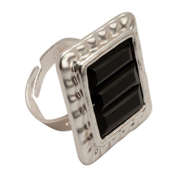 R53008.23 Bague argentée au 925 sterling avec un cristal carré noir