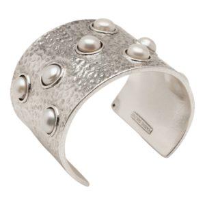 B59010.42 Bracelet martelé argenté au 925 Sterling avec perles