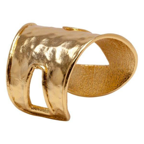 ROMANE - B60070.10 Bracelet martelé adoré à l'or fin 24 carats asymétrique