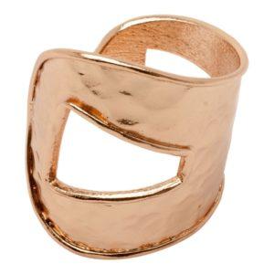 ROMANE - B60070.50 Bracelet martelé doré à l'or rose fin 24 carats asymétrique