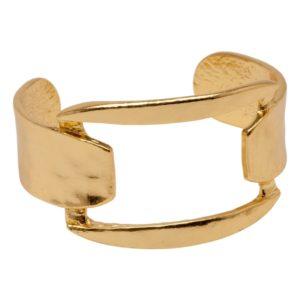 CAMILLE - B60093.10 Bracelet doré à l'or fin 24 carats avec anneau carré