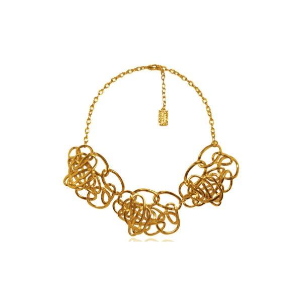 N59008.10 Collier doré à l'or fin 24 carats doté de plusieurs anneaux ovale