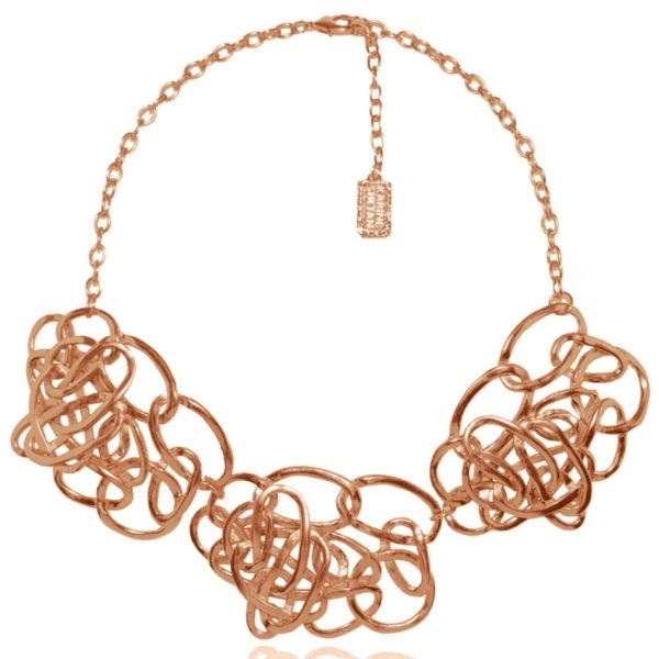 N59008.50 Collier doré à l'or fin 24 carats , Rose mat doté de plusieurs anneaux ovale