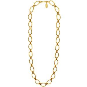 N53038.10 Collier doré à l'or fin 24 carats avec des liens en forme de cercle
