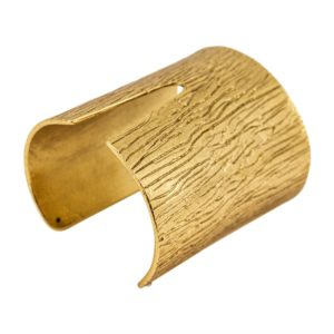 B61106.30 Bracelet large avec fente centrale doré à l'or fin 24 carats