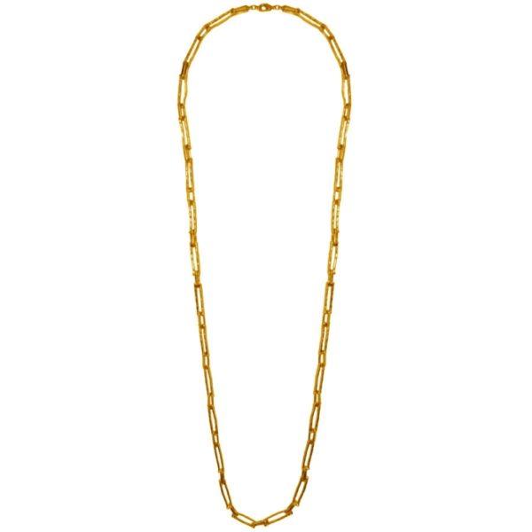 N12058.10 Collier doré à l'or fin 24 carats avec des rectangles enchaînés