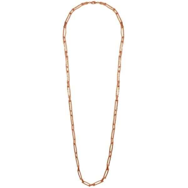 N12058.50 Collier doré à l'or rose fin 24 carats avec des rectangles enchaînés