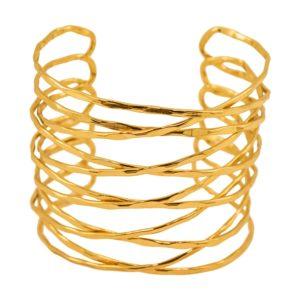 B61047.10 Bracelet avec chevauchement de barre doré à l'or fin 24 carats