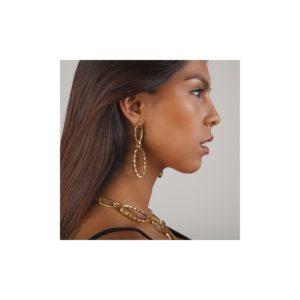 E58082.10 Boucles d'oreillesdorées à l'or fin 24 carats en forme de chaine