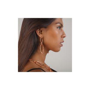 E58082.50 Boucles d'oreilles dorées à l'or fin rose 24 carats en forme de chaine