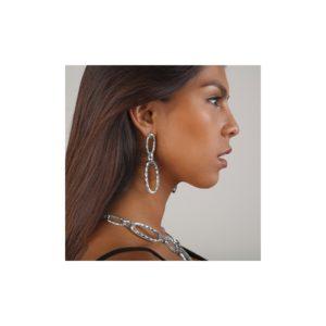E58082.20 Boucles d'oreillesargentées au 925 sterling en forme de chaine