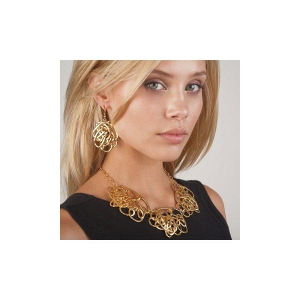E59009.10 Boucles d'oreilles dorées à l'or fin 24 carats avec anneaux ovales
