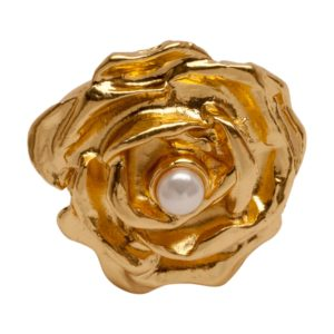 R55002.12 Bague en forme de Rose en plaquée Or mat