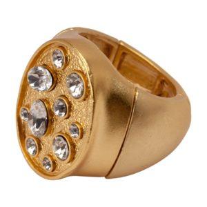R50225.31 Bague dorée à l'or fin 24 carats avec perles de cristal