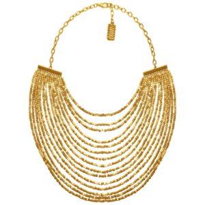 N50825.10 Collier doré à l'or fin 24 carats avec plusieurs lignes de perle