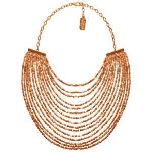 N50825.50 Collier doré à l'or rose fin 24 carats avec plusieurs lignes de perle