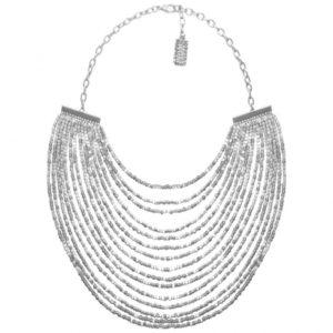 N50825.20 Collier argenté au 925 sterling avec plusieurs lignes de perle