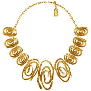 N08128.10 Collier doré à l'or fin 24 carats avec des tourbillons de forme ovale
