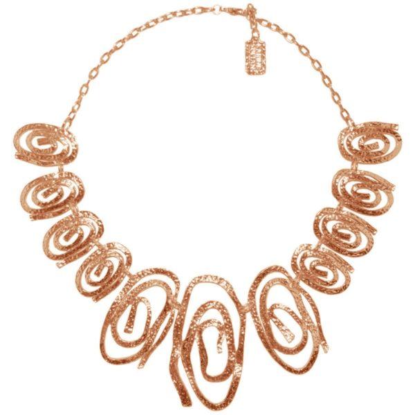 N08128.50 Collier doré à l'or rose fin 24 carats avec des tourbillons de forme ovale