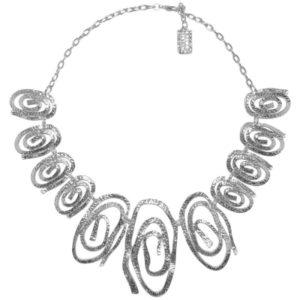 N08128.20 Collier argenté au 925 sterling avec des tourbillons de forme ovale