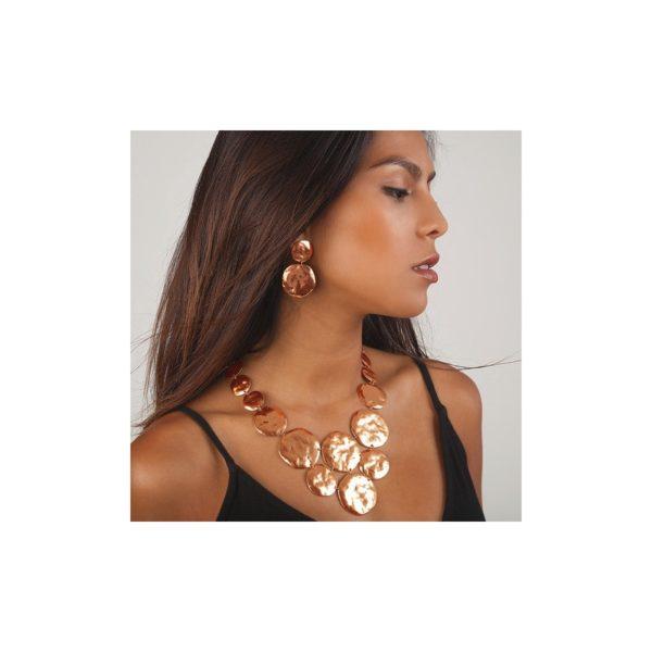 E56091.50 Boucles d'oreilles dorées à l'or rose 24 carats martelé en médaille