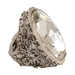 R51063.41 Bague argentée au 925 sterling avec un grand Cristal