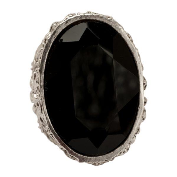R51063.43 Bague argentée au 925 sterling avec un grand Cristal noir