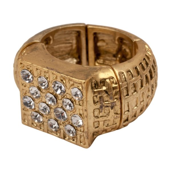 R50221.31 Bague dorée à l'or fin 24 carats de style tressé avec cristaux