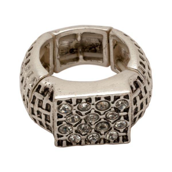 R50221.41 Bague argentée au 925 sterling de style tressé avec cristaux