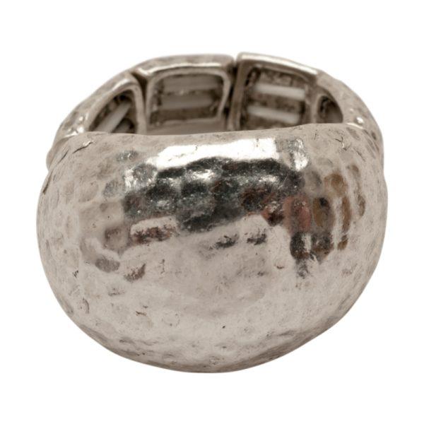 R50601.40 Bague argentée au 925 sterling martelé en forme de ôme