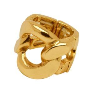 R58050.10 Bague dorée à l'or fin 24 carats d'un anneau de chaine