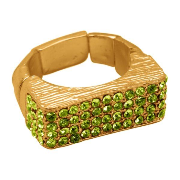 R55025.16 Bague dorée à l'or fin 24 carats à pavé rectangulaire et cristaux verts