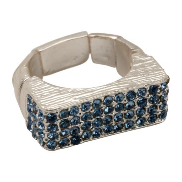 R55025.25 Bague argentée au 925 sterling à pavé rectangulaire et cristaux bleus