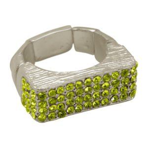 R55025.26 Bague argentée au 925 sterling à pavé rectangulaire et cristaux verts