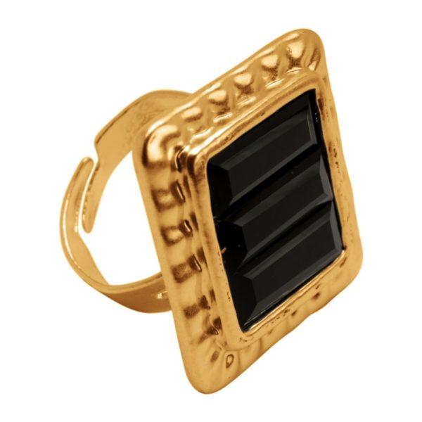 R53008.13 Bague dorée à l'or fin 24 carats avec un cristal carré noir