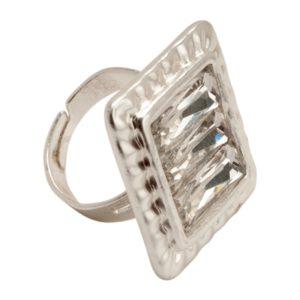 R53008.21 Bague argentée au 925 sterling avec un cristal carré clair