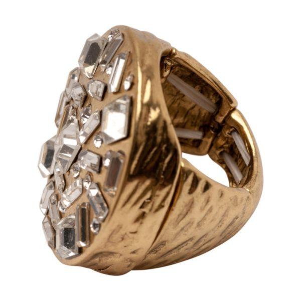 R50142.31 Bague dorée à l'or fin 24 carats avec cristaux