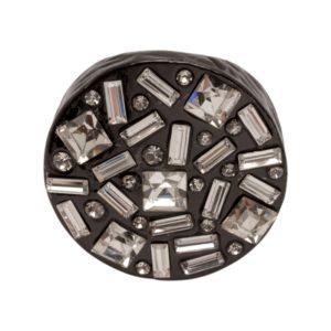 R50142.71 Bague étain couleur hématite avec cristaux