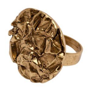 R59039.30 Bague dorée à l'or fin 24 carats en forme de pièce froissé