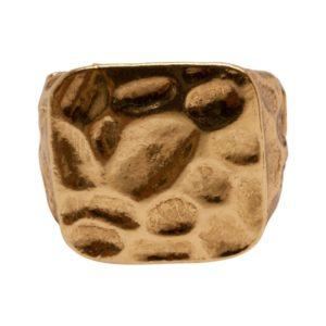 R50222.10 Bague dorée à l'or fin 24 carats à texture martelé