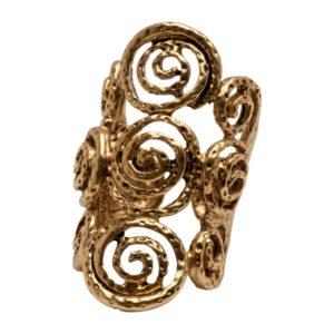 R56034.30 Bague dorée à l'or fin 24 caratsavec tourbillon