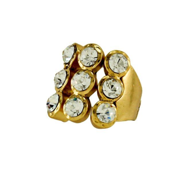 R50140.31 Bague dorée à l'or fin 24 carats avec trois rangée de cristaux rond