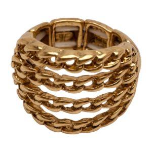 R58051.30 Bague dorée à l'or fin 24 carats avec couches fine de chaîne