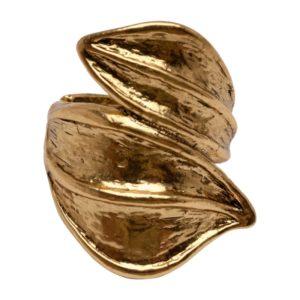 R51061.30 Bague dorée à l'or fin 24 carats oxydé brossé d'une double feuille
