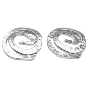 E08122.20 Boucles d'oreilles argentées au 925 sterlingtexturé à spirale