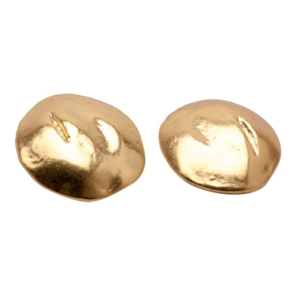 E06920.10 Boucles d'oreilles dorées à l'or fin 24 carats en forme de disque