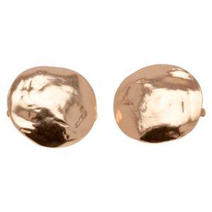 E06921.50 Boucles d'oreilles martelé dorées à l'or rose 24 carats Rose mat en forme de disque